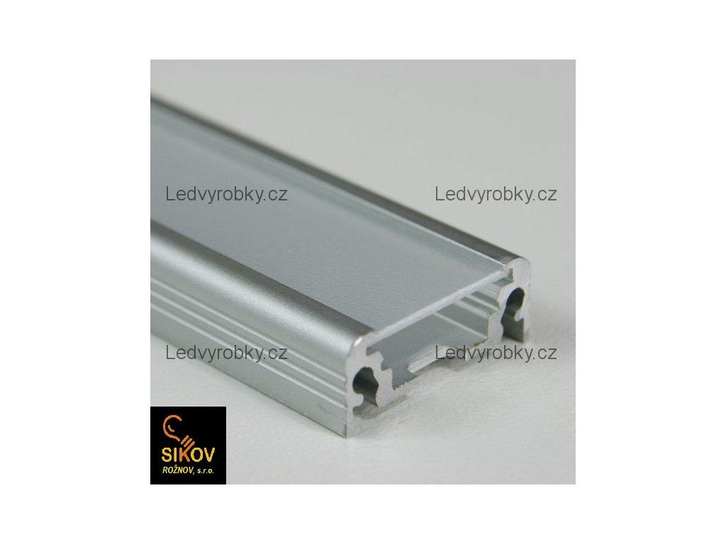 Alu profil pro led pásek ALU 2008 povrchový typ 1 ( cena za 1m )