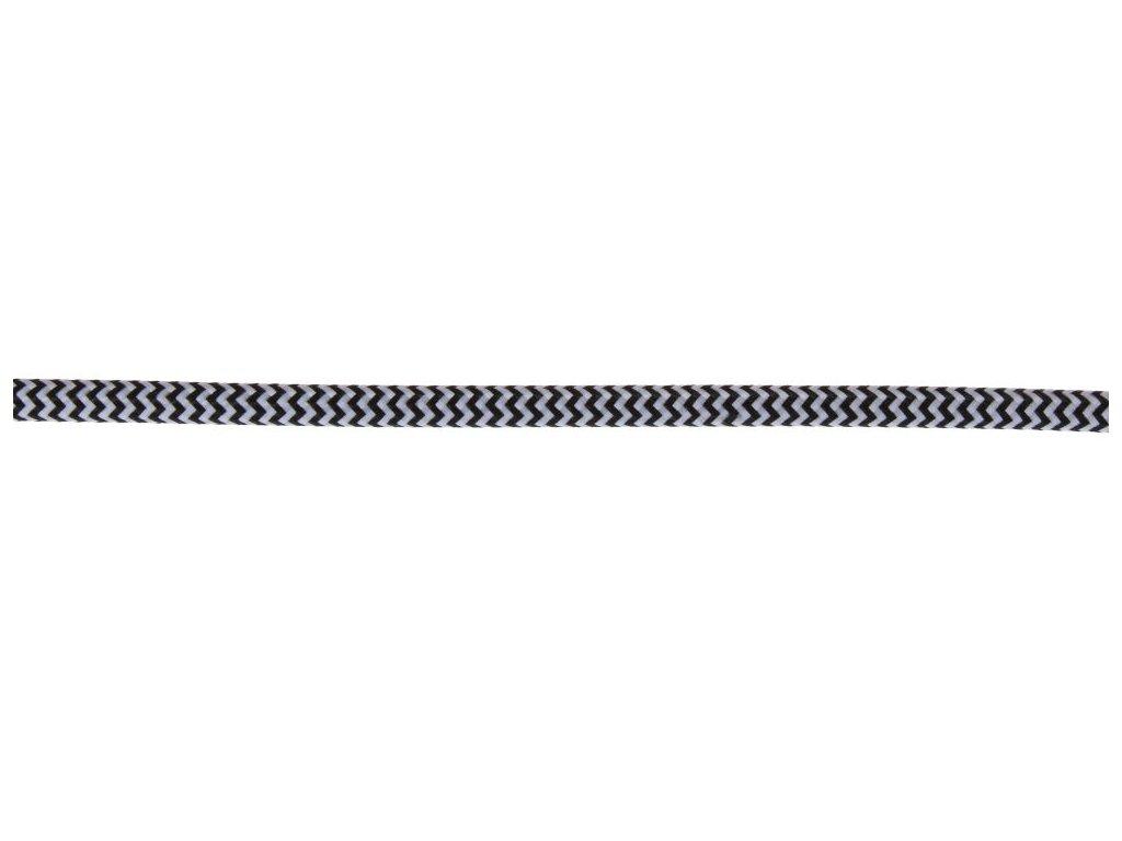 Textilní kulatý kabel 3x0,75 - Černo-bílá