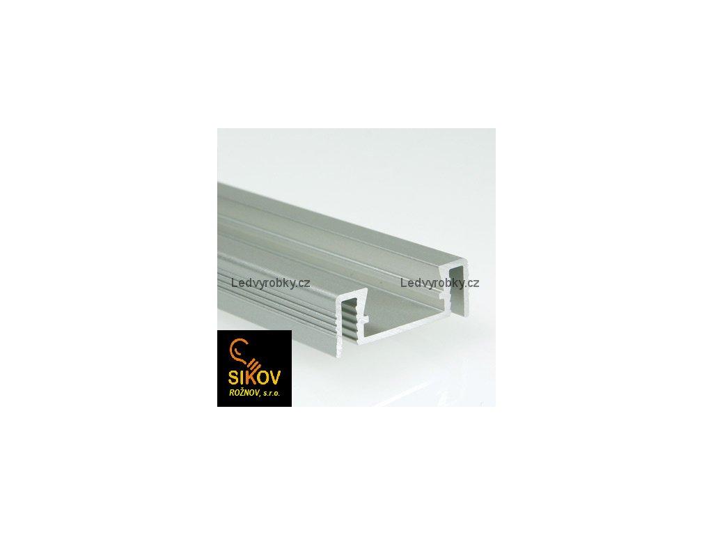Alu profil pro led pásek ALU 2008 povrchový typ 3 ( cena za 1m )