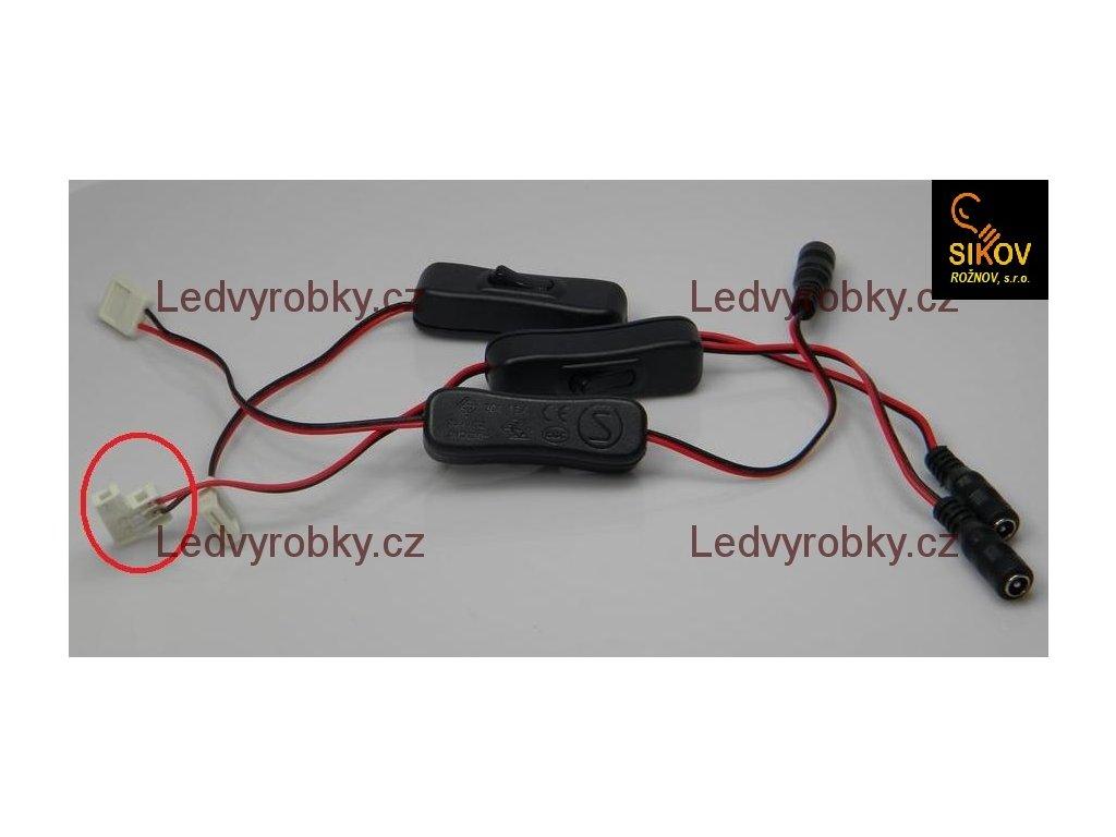 Vypínač LED pásku na kabelu s jackem zdířkou a mechanickou přípojkou 3528