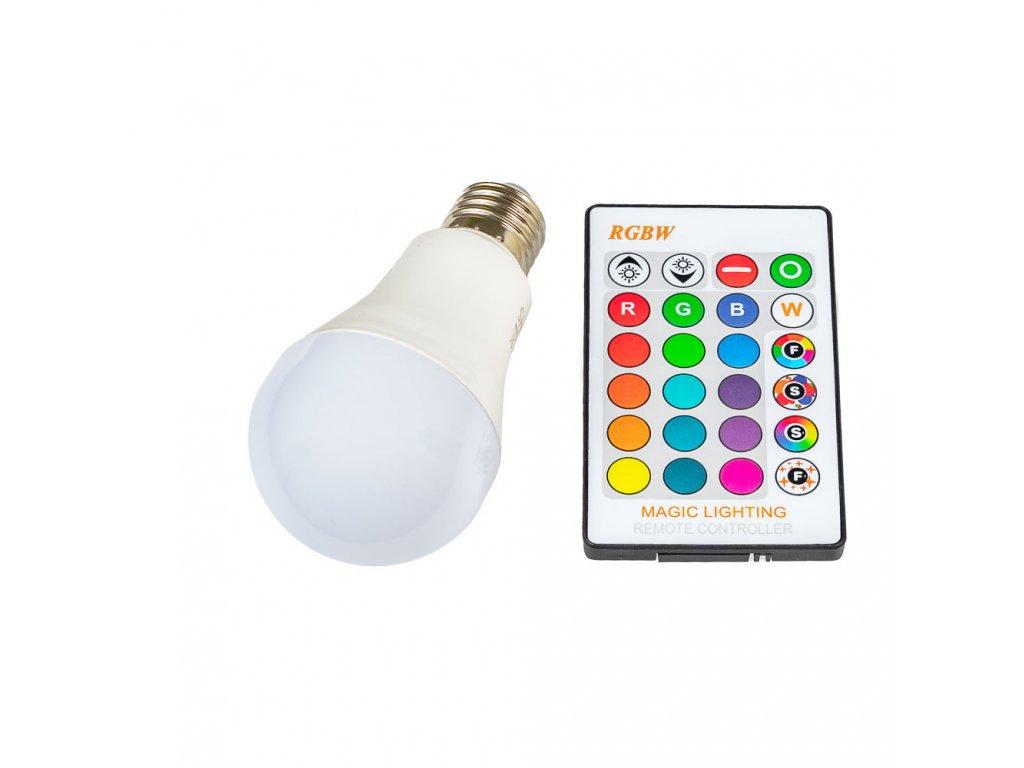 LED žárovka RGBW E27 5W 360° - RGB + Studená bílá
