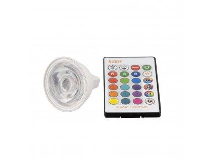 LED žárovka RGBW MR16 3W 60° - RGB + Studená bílá