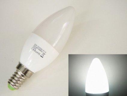 LED žárovka E14 EV5W svíčka - Studená bílá