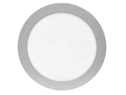 15W,1050lm,180mm,12mm,30/SMD5630,Stříbrný kruhový vestavný LED panel 180mm 15W teplá bílá