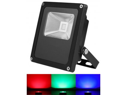 10W,700lm,83x114mm,10W/COB,Černý RGB LED reflektor 10W s IR dálkovým ovladačem
