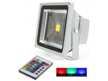30W,2100lm,205x269mm,30W/COB,Stříbrný RGB LED reflektor 30W s IR dálkovým ovladačem