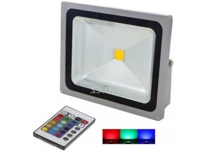 50W,3500lm,260x330mm,50W/COB,Stříbrný RGB LED reflektor 50W s IR dálkovým ovladačem