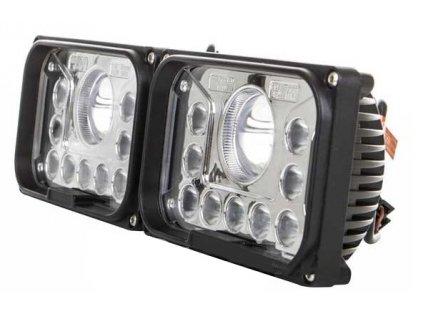42W,7600lm,116x143mm,9x3W+1x15W,Hranatý přední LED světlomet s dálkovým světlem 42W 12-36V