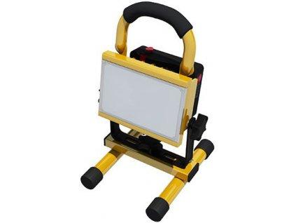 10W,700lm,164x152x257mm,10W COB,Žlutý LED reflektor 10W s baterií profi handy denní bílá