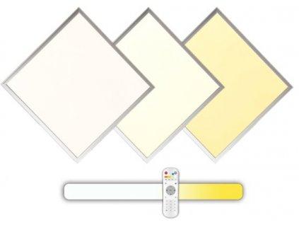 Stříbrný podhledový LED panel 60W 600x600 s ovladačem 3000-6000K