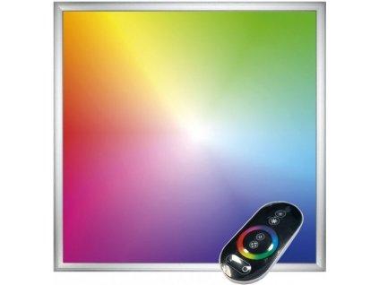 Stmívatelný Stříbrný podhledový LED panel 40W 600x600 s ovladačem RGB