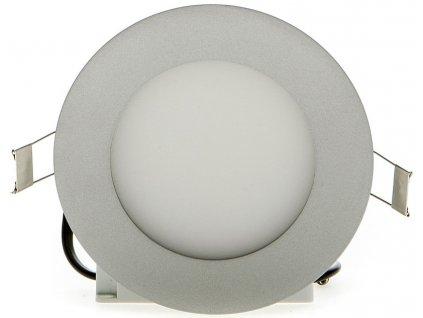 Stmívatelný stříbrný kruhový vestavný LED panel 120mm 6W teplá bílá