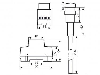 Soumrakový spínač SS-RS1 do rozvaděče - Soumrakový spínač SS-RS1 IP65