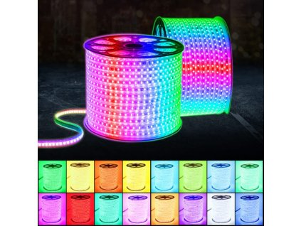RGB LED Strip Flexible Lights SMD5050 Waterproof AC220V 230V 240V Neon Light Remote Control Party Living