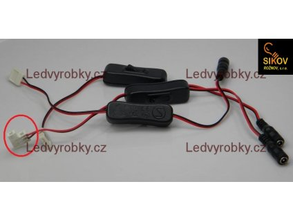 Vypínač LED pásku na kabelu s jackem zdířkou a mechanickou přípojkou 5050