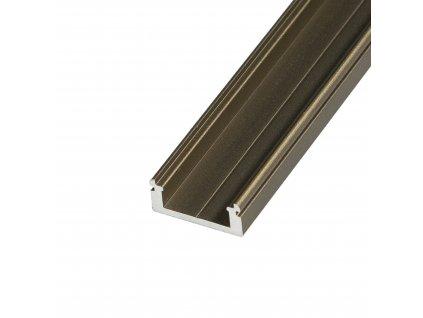 LED profil N8B - nástěnný bronzový - Profil bez krytu 2m