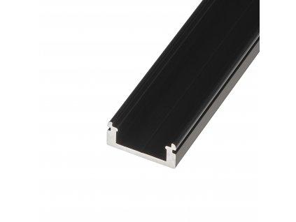 LED profil N8C - nástěnný černý - Profil bez krytu 2m