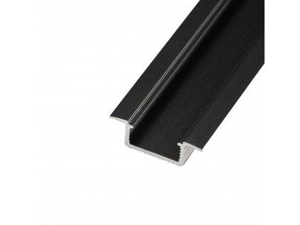 LED profil V5C - vestavný černý - Profil bez krytu 1m