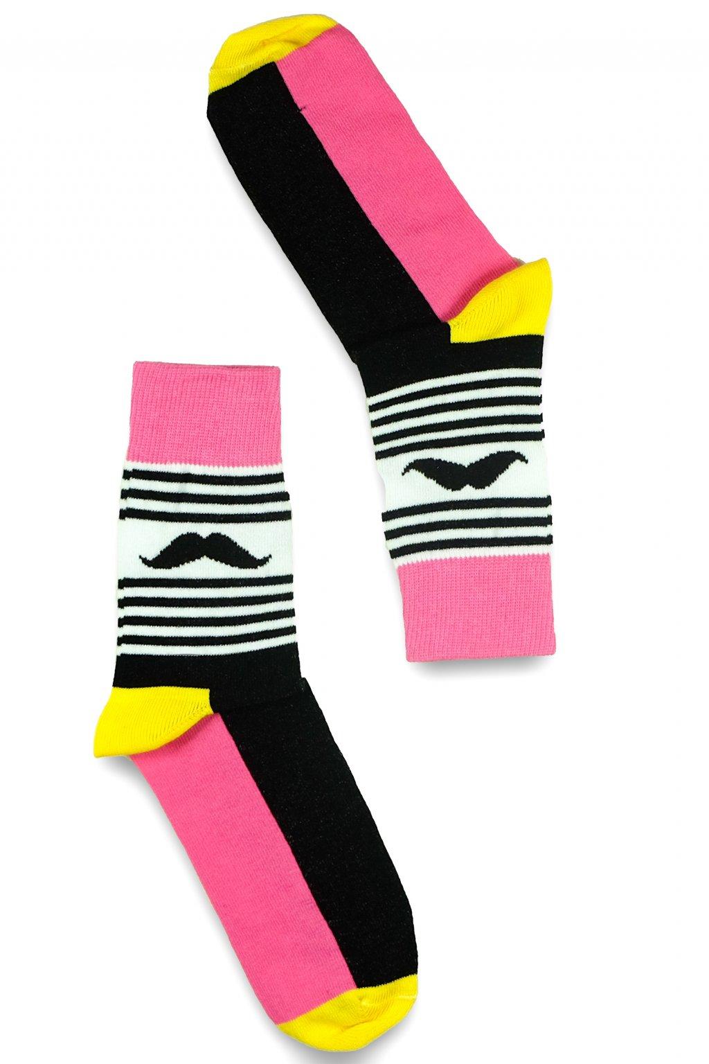 ruzove barevne vesele ponozky Le Fusek