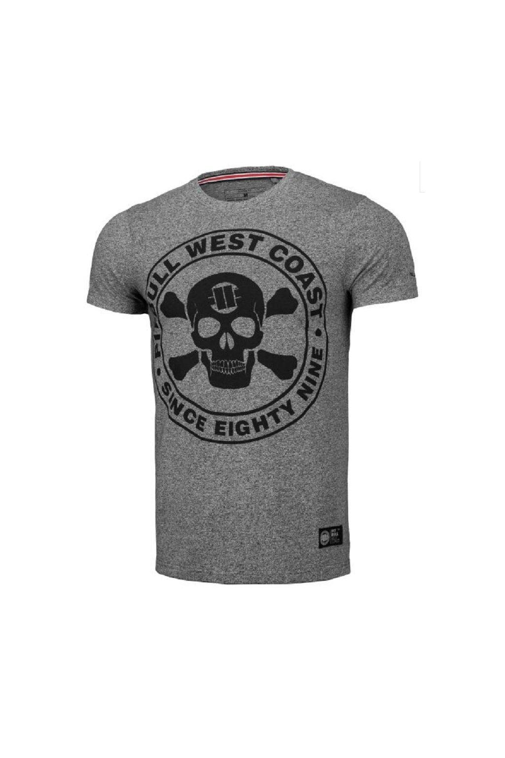 Pánské triko PIT BULL WEST COAST - Custom Fit Skull grey melange obr1