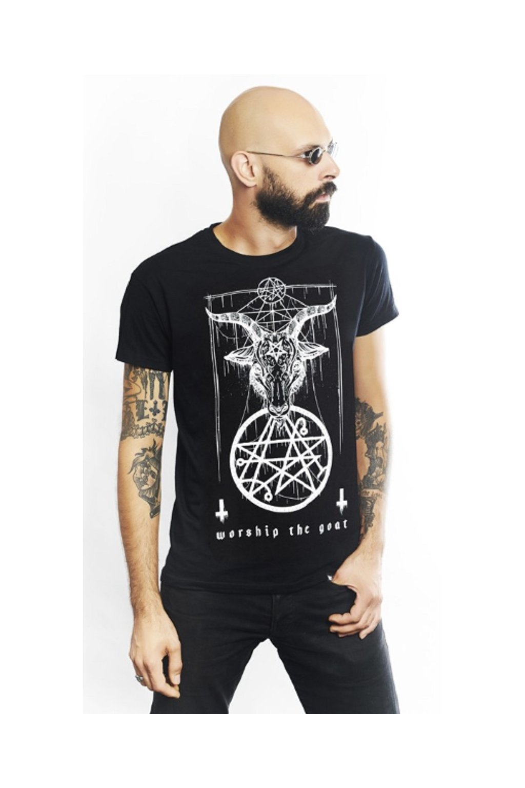 SickFace pánské triko Worship The Goat obr1