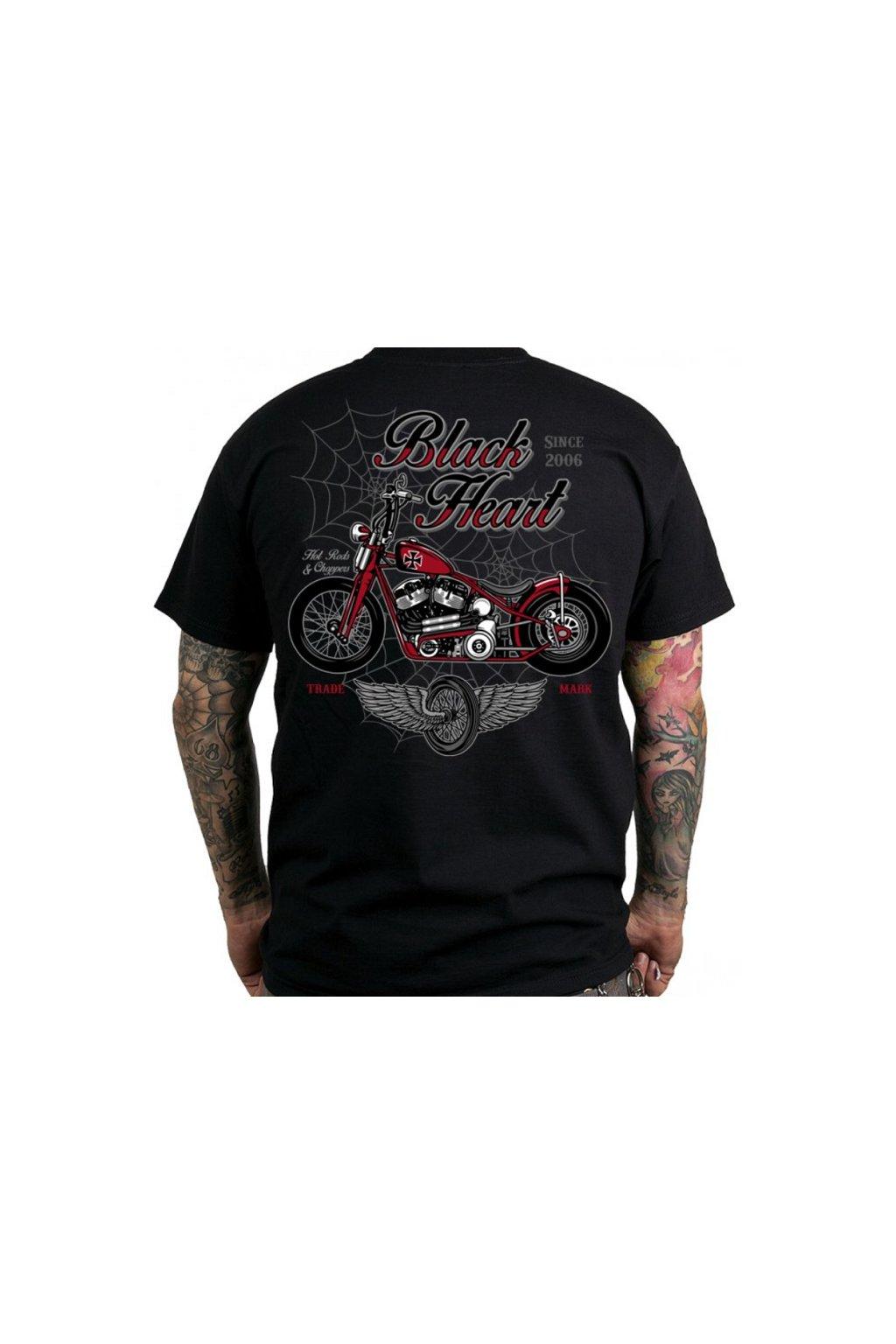 Pánské triko BLACK HEART RED BARON CHOPPER přední strana