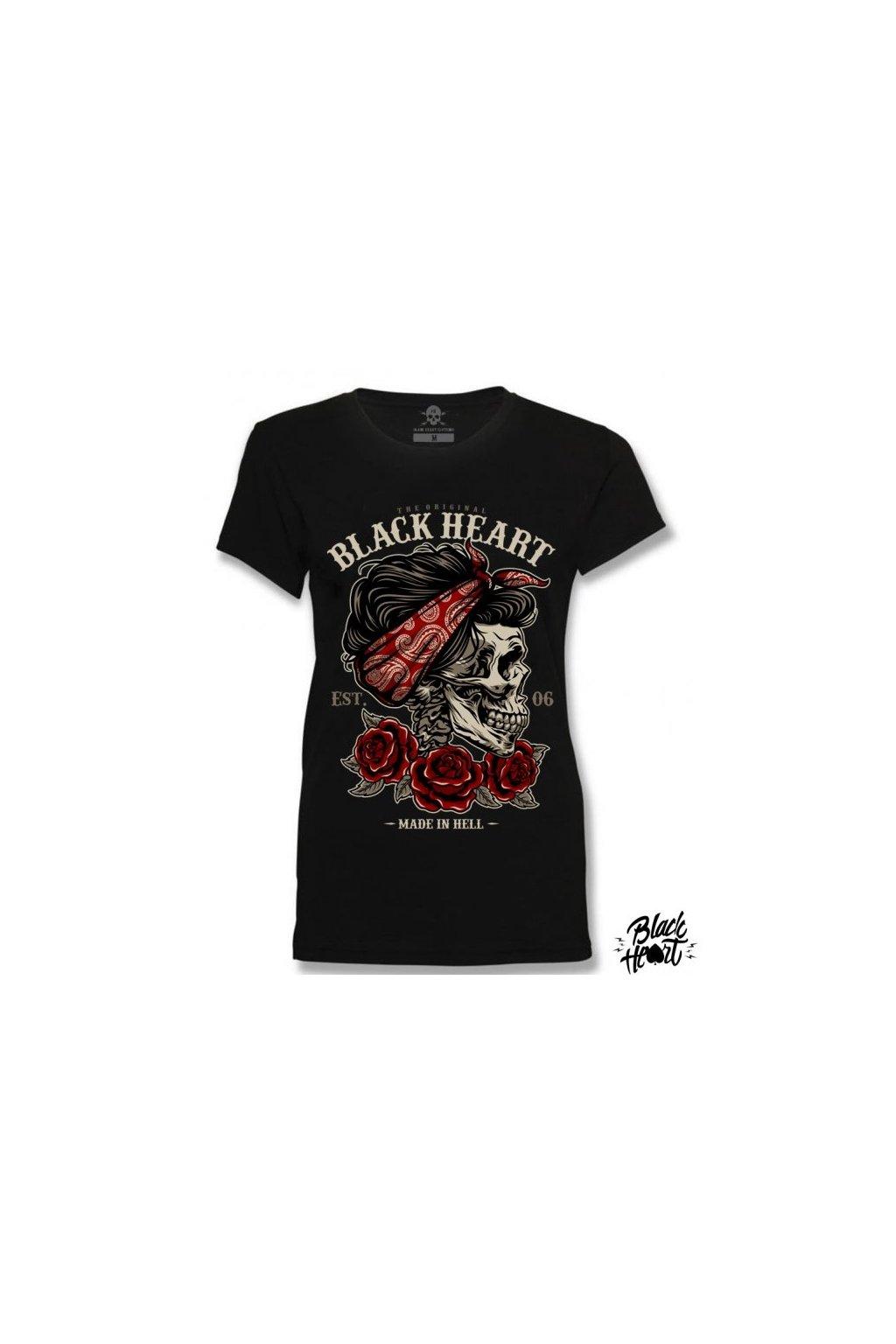 Dámské Triko BLACK HEART PIN UP SKULL černé přední strana