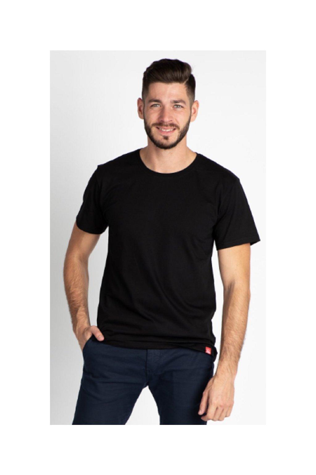 CityZen bavlněné triko Basic černé kulatý střih obr1
