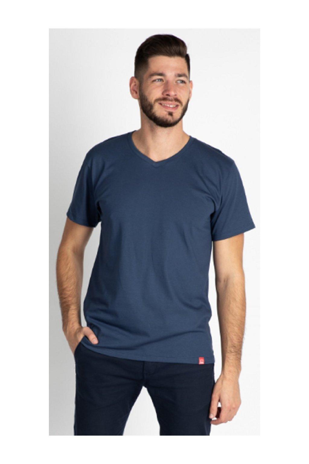 CityZen bavlněné triko Basic modré střih V obr1