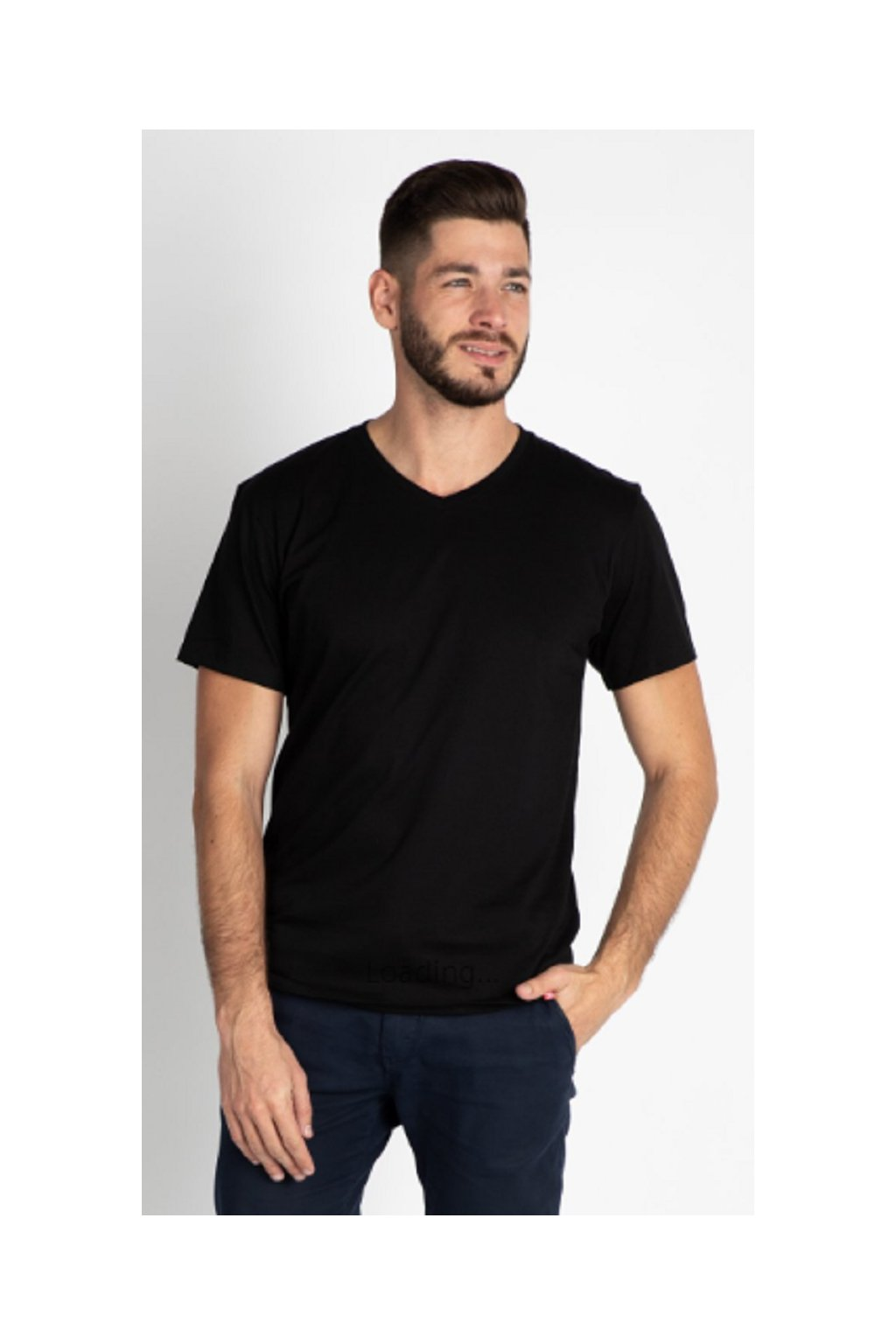 CityZen bavlněné triko Basic černé střih V obr1