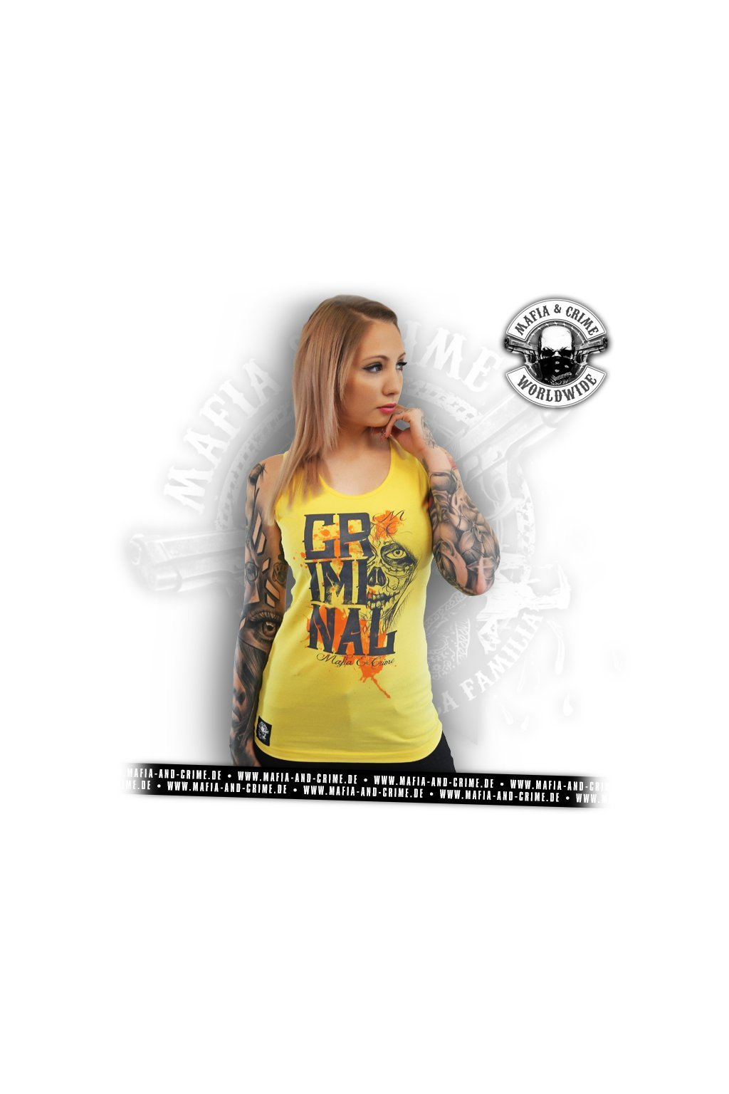 Dámské tílko Mafia & Crime CRIMINAL Tank Top gelb obr1