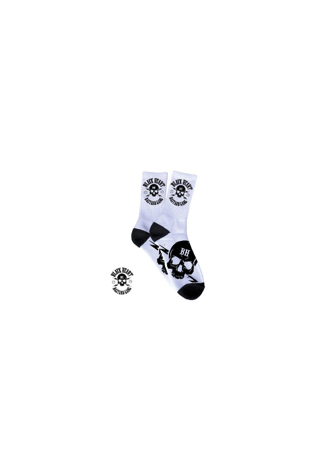 Ponožky BLACK HEART BASTARD SKULL přední strana