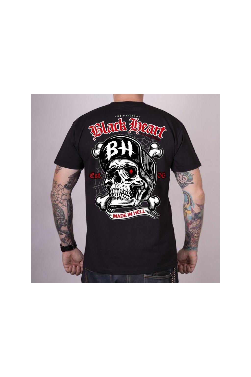 Pánské Triko BLACK HEART SKULL BONES přední strana