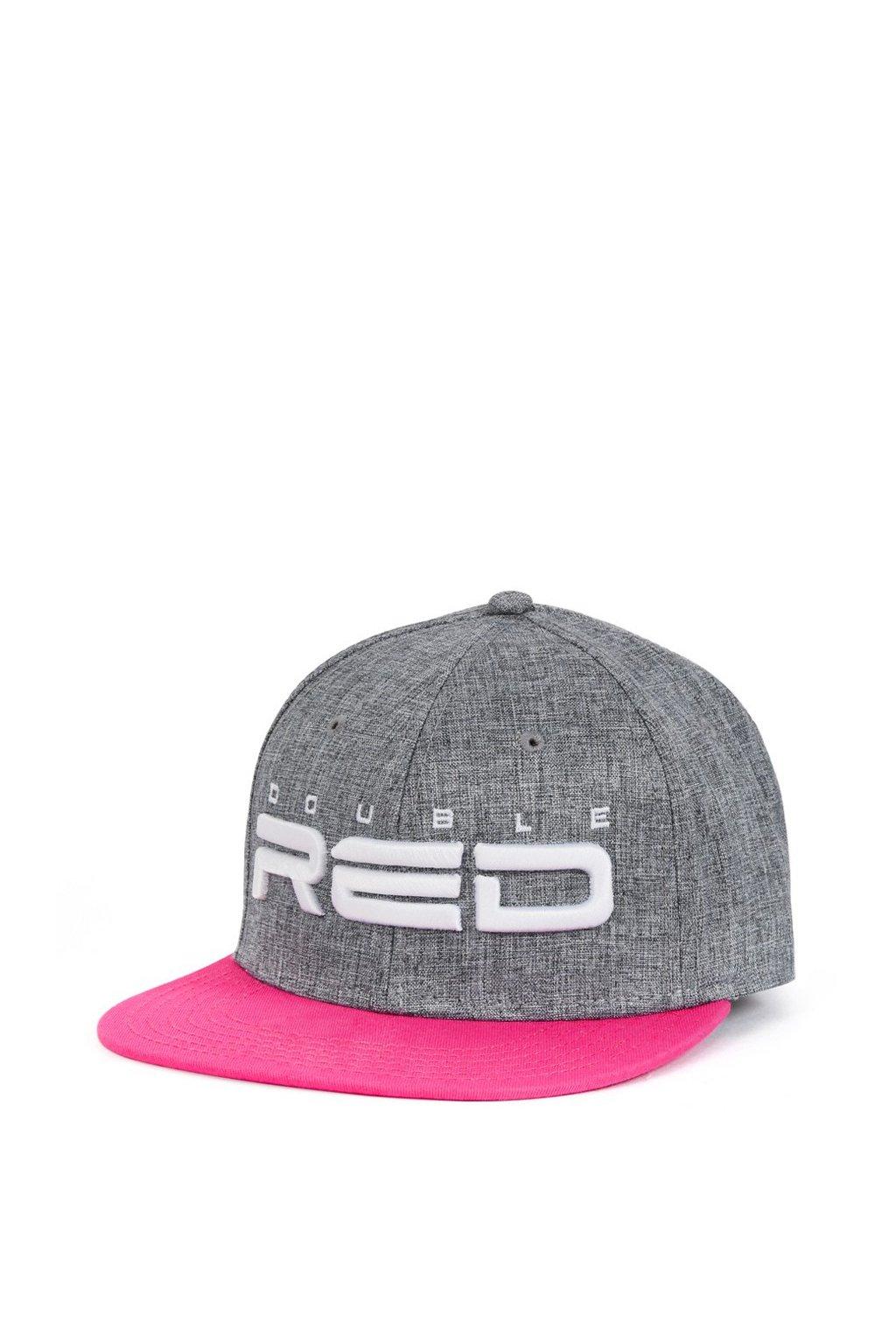 Kšiltovka DOUBLE RED Snapback Melange 3D Embroidery Grey/Pink přední strana