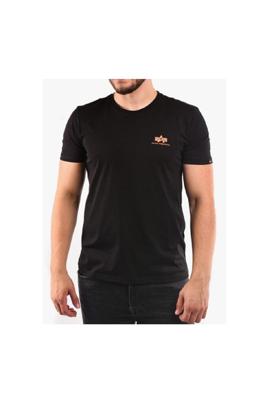 Alpha Industries T Basic Black Neon Orange XL přední strana