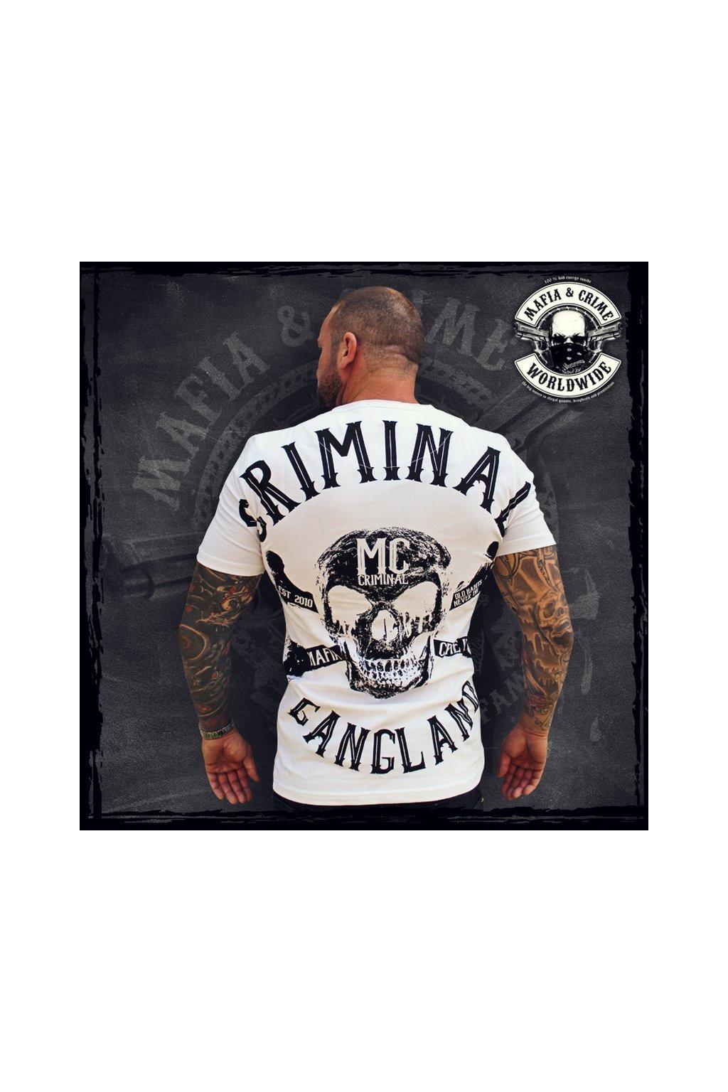 Mafia & Crime pánské triko Criminal Gangland V Neck bílo černá obr1