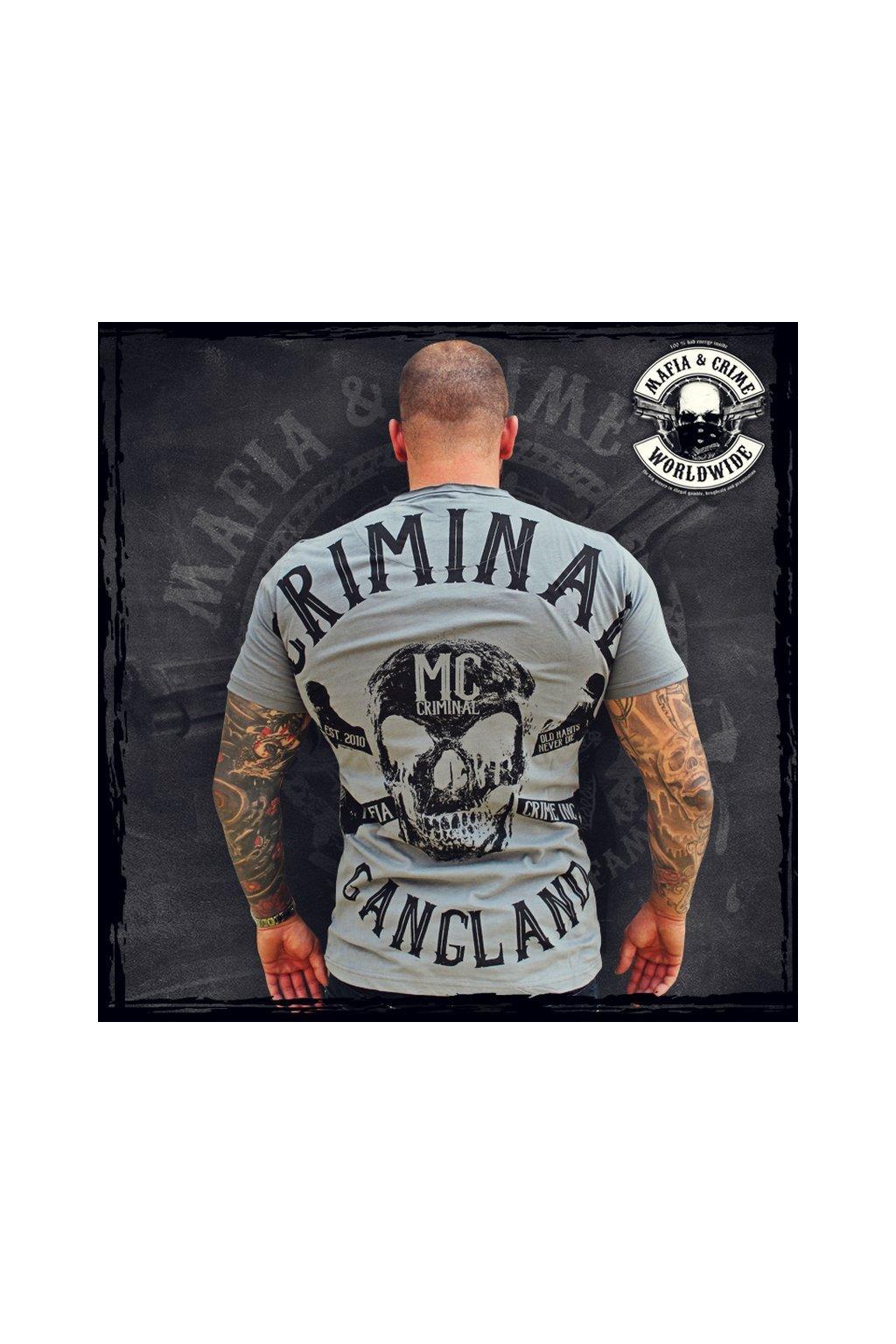Mafia & Crime pánské triko Criminal Gangland V Neck šedo černá obr1