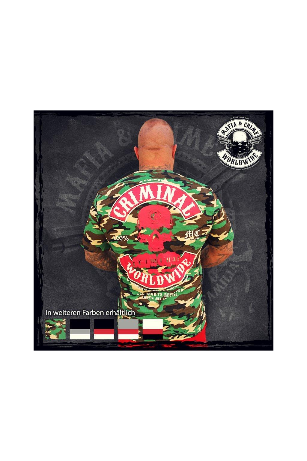 Mafia & Crime pánské triko MC Worldwide camouflage obr1