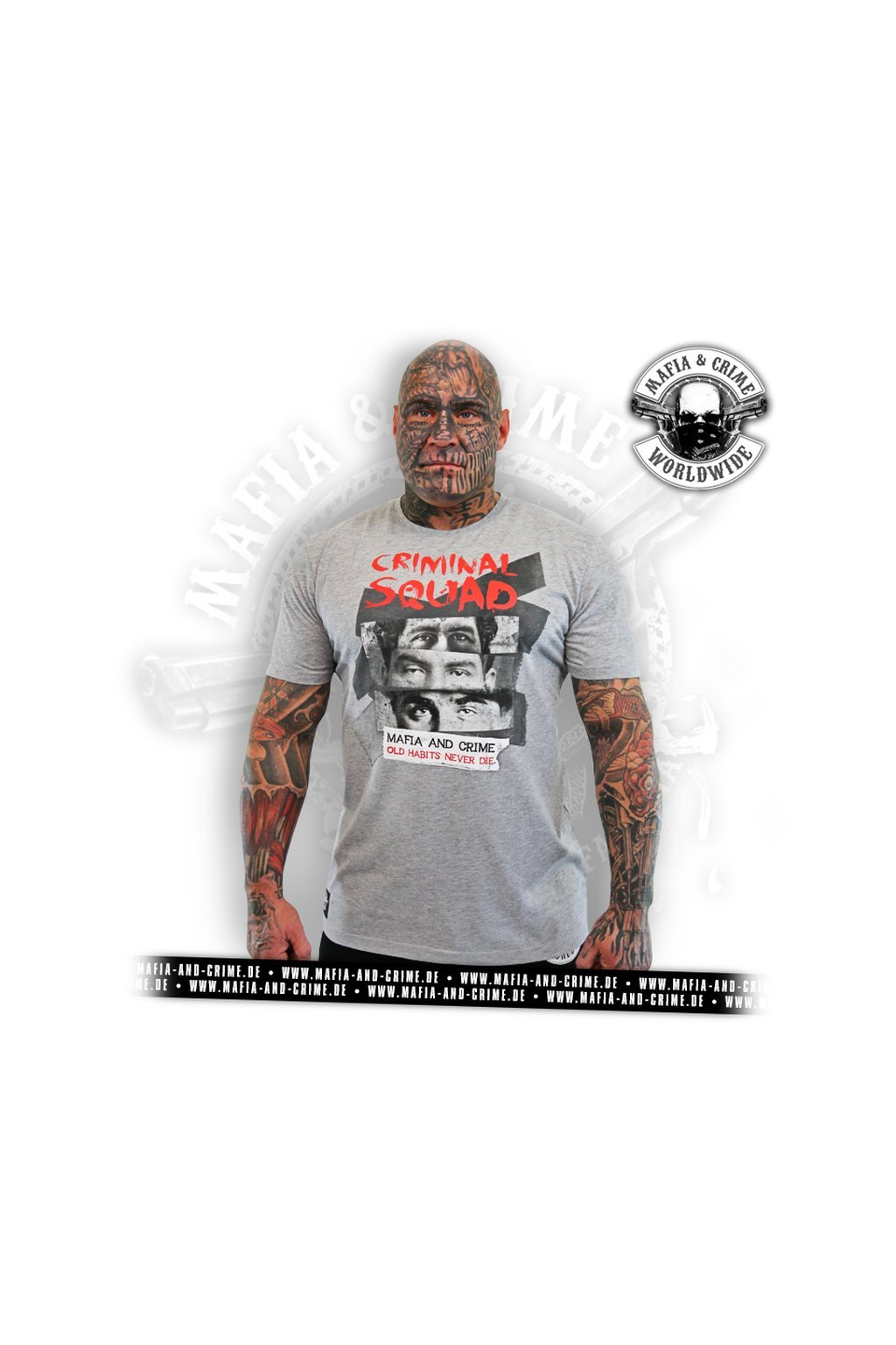 Pánské triko Mafia & Crime Criminal Squad Shirt grau melange obr1