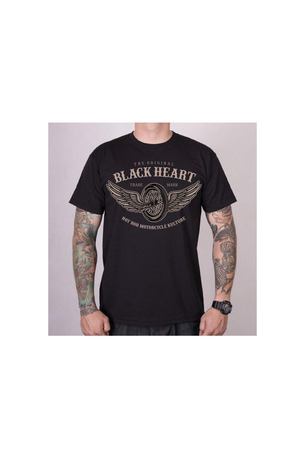 Pánské triko Black Heart Wings přední strana