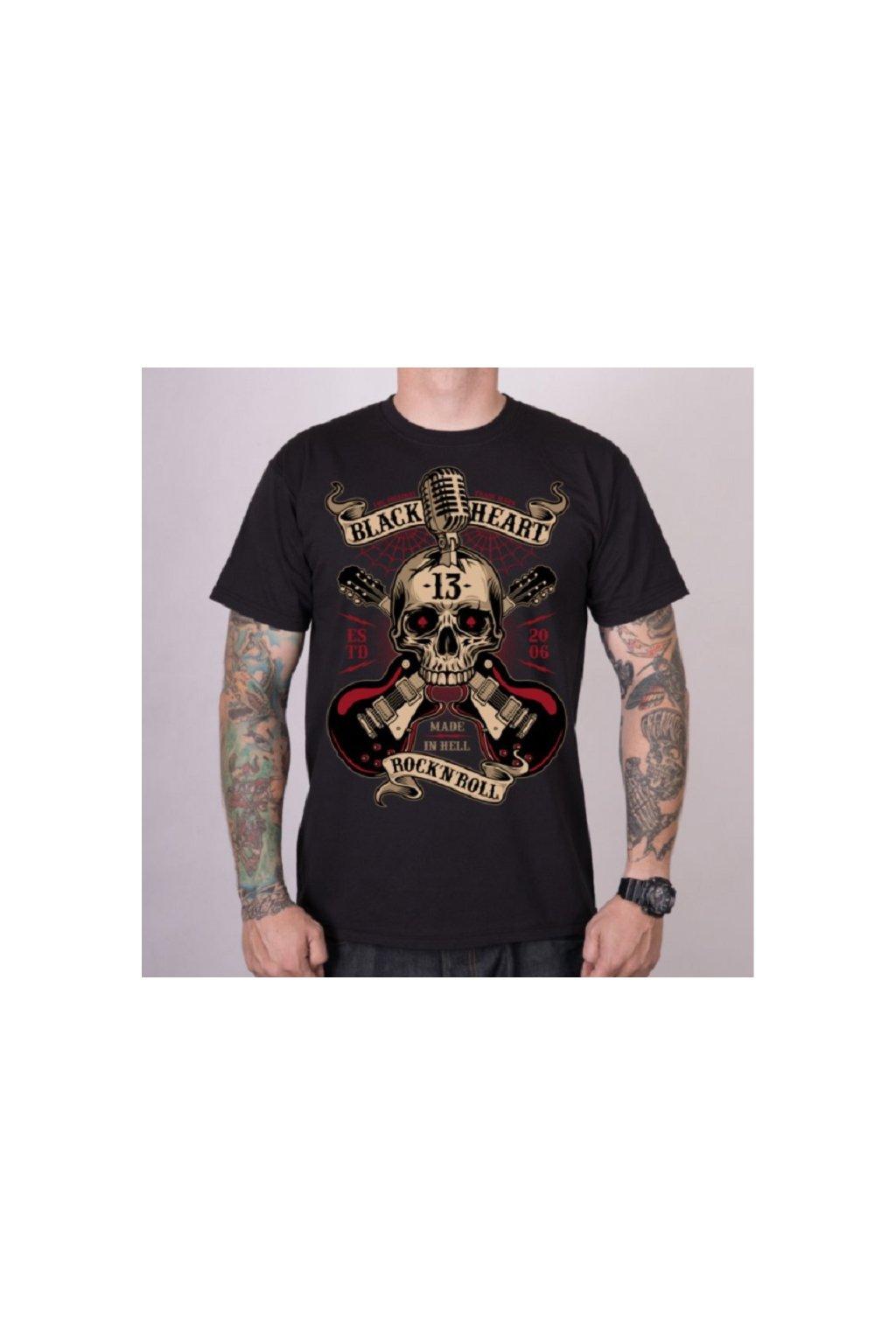 Pánské triko Black Heart ROCK N ROLL přední strana