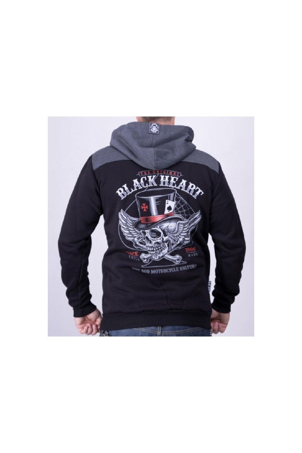 Pánská Mikina BLACK HEART HAT SKULL přední strana