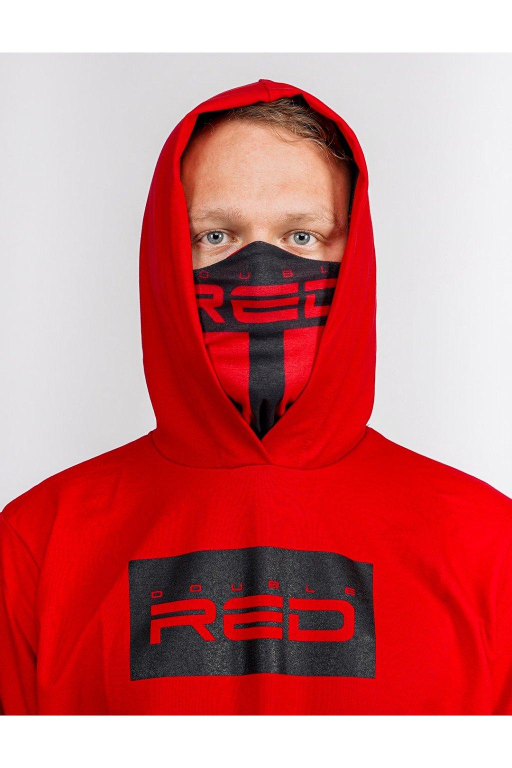 Double Red pánská mikina Red 2in1 Hoodie & Snood Black obr1