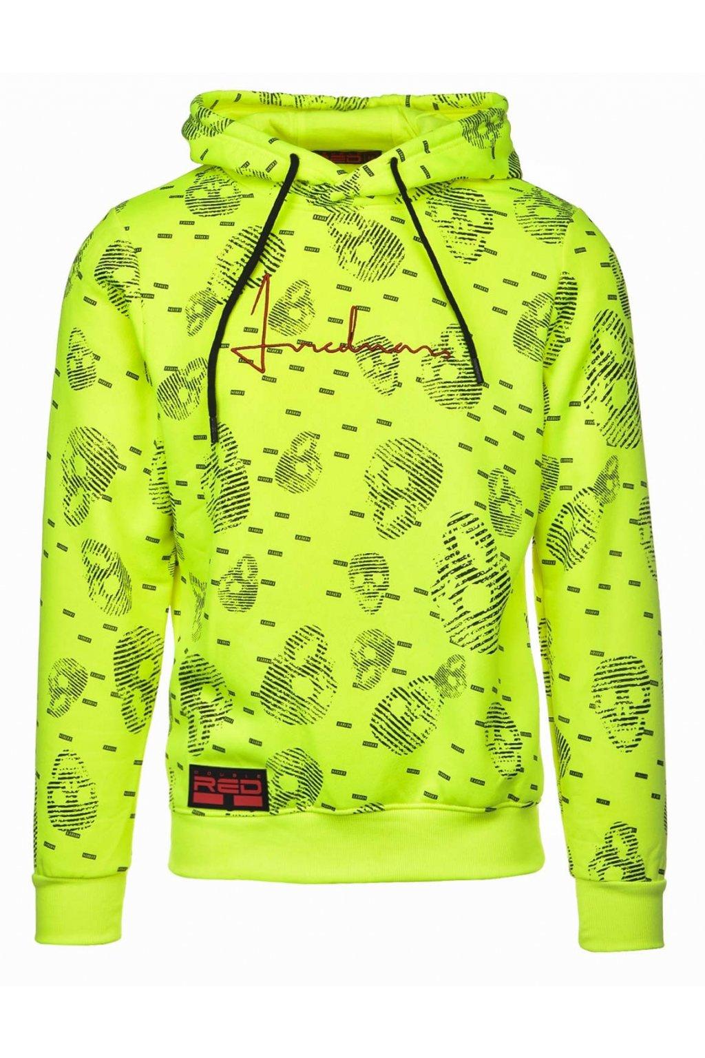 Double Red pánská mikina Hoodie I REDMAN Skull Street Edition Neon Yellow obr1