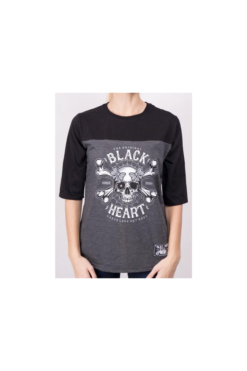Dámské Triko BLACK HEART DEAD PIN UP přední strana
