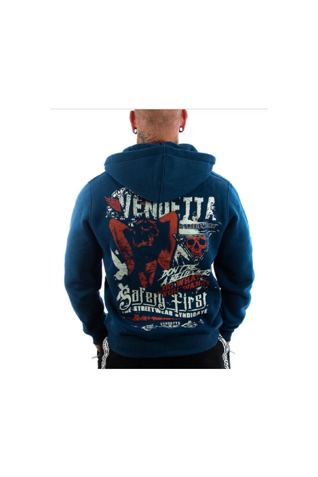 Pánská mikina s kapucí a zipem Vendetta Inc .Safery tmavě modrá obr1