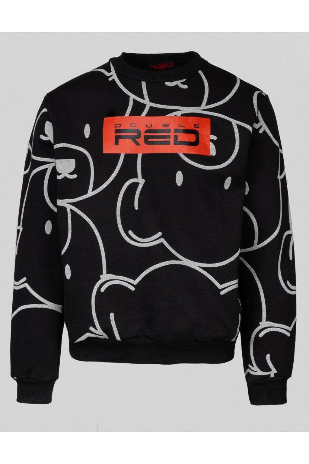 Double Red UNISEX mikina TEDDY Sweatshirt Black obr1
