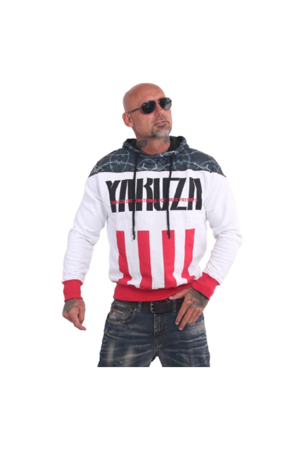 Yakuza mikina s kapucí Barbwire HOB 16002 White obr1