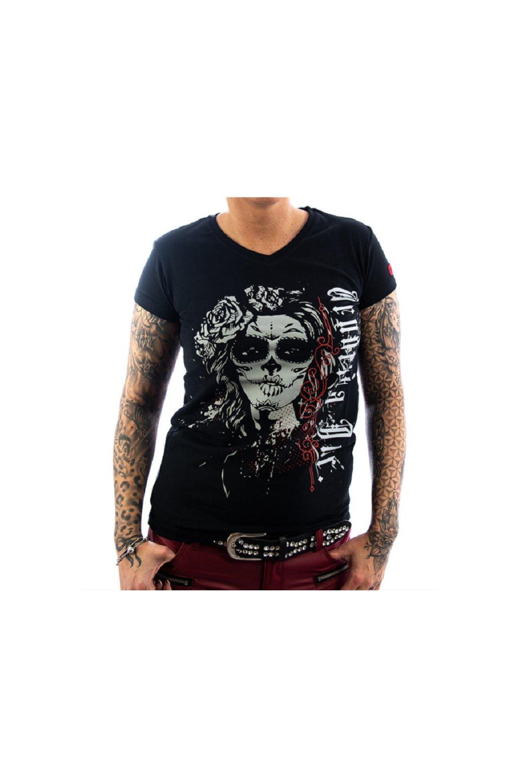 Vendetta dámské triko  Shirt La Catrina schwarz VD-0008