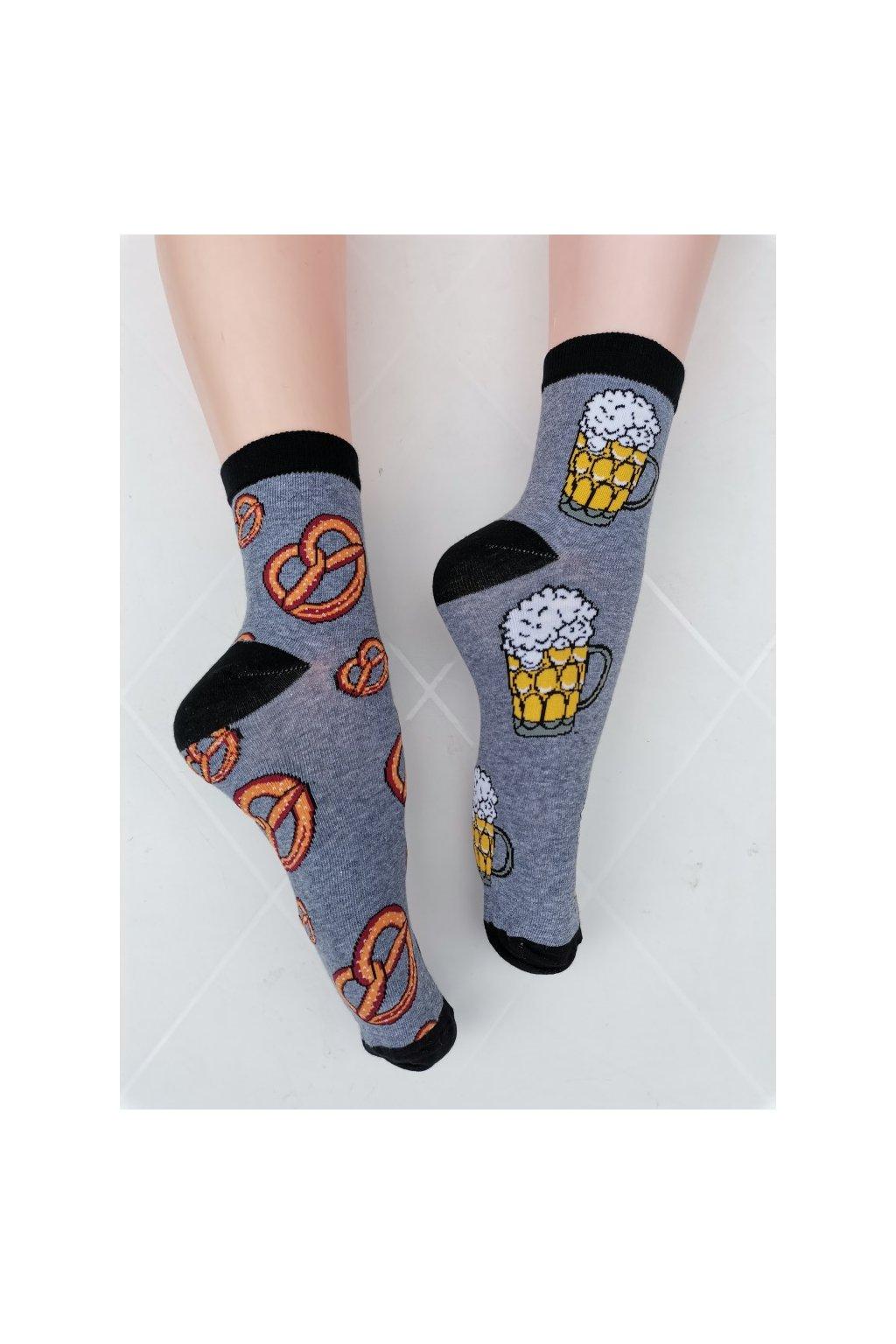 Ponožky unisex PIVO PRECLÍK šedá